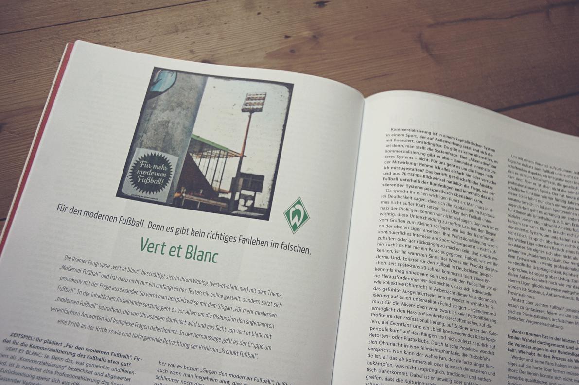 Ein Foto des Interviews im Zeitspiel-Magazin.